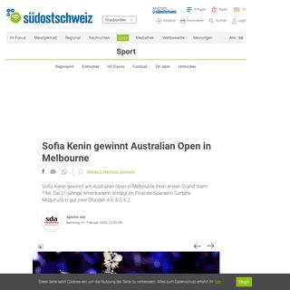 Sofia Kenin gewinnt Australian Open in Melbourne - suedostschweiz.ch