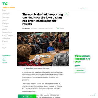 The app tasked with reporting the results of the Iowa caucus has crashed, delaying the results - TechCrunch