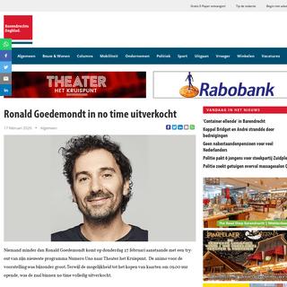 Barendrechts Dagblad - Ronald Goedemondt in no time uitverkocht