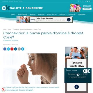 Coronavirus- la nuova parola d'ordine è droplet. Cos'è- - OK Salute