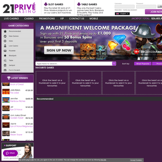 21Prive Casino - Online Casino games and slots - Welcome Bonus up to £-$-€1,000