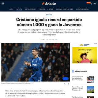Cristiano iguala récord en partido número 1.000 y gana la Juventus - EL DEBATE