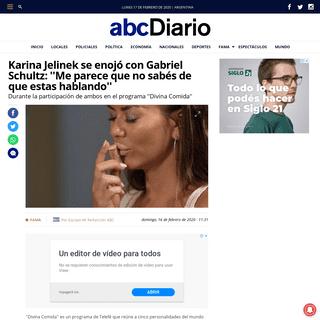 ArchiveBay.com - www.abcdiario.com.ar/fama/argentina/2020/2/16/karina-jelinek-se-enojo-con-gabriel-schultz-me-parece-que-no-sabes-de-que-estas-hablando-18665.html - Karina Jelinek se enojó con Gabriel Schultz- ''Me parece que no sabés de que estas hablando'' - ABC Diario