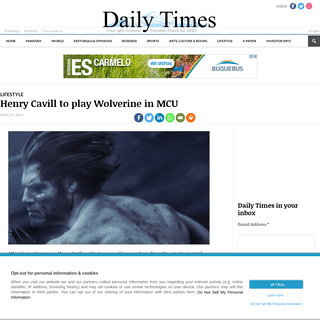 Henry Cavill to play Wolverine in MCU - Daily times