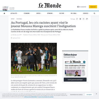 ArchiveBay.com - www.lemonde.fr/sport/article/2020/02/17/moussa-marega-vise-par-des-cris-racistes-le-vitoria-guimaraes-ouvre-une-enquete_6029843_3242.html - Au Portugal, les cris racistes ayant visé le joueur Moussa Marega suscitent l'indignation