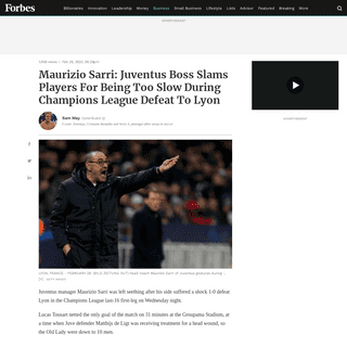 Maurizio Sarri- Juventus Boss Slams Players For Being Too Slow During Champions League Defeat To Lyon