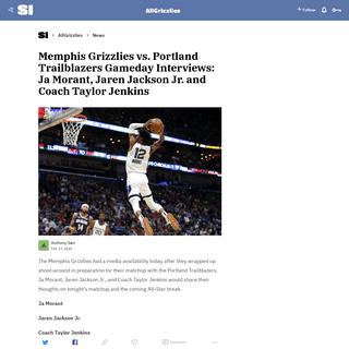 Memphis Grizzlies vs. Portland Trailblazers Gameday Interviews- Ja Morant, Jaren Jackson Jr. and Coach Taylor Jenkins