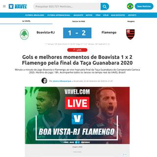 Gols e melhores momentos de Boavista 1 x 2 Flamengo pela final da Taça Guanabara 2020 - 22-02-2020 - VAVEL Brasil