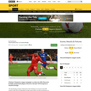 Chelsea 0-3 Bayern Munich- Serge Gnabry scores twice as Bayern take control - BBC Sport