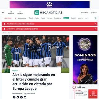 Alexis sigue mejorando en el Inter y cumple gran actuación en victoria por Europa League - Meganoticias
