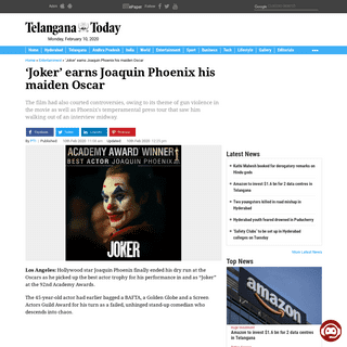 'Joker' earns Joaquin Phoenix his maiden Oscar