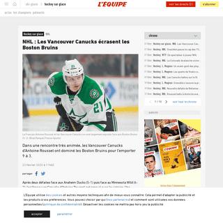 NHL- Les Vancouver Canucks écrasent les Boston Bruins - Hockey sur glace - NHL - L'Équipe