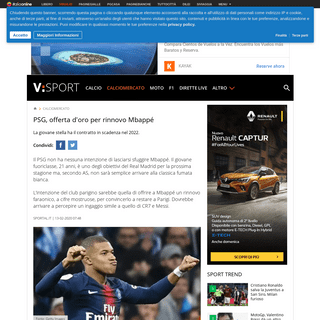 PSG, offerta d'oro per rinnovo Mbappé - Virgilio Sport