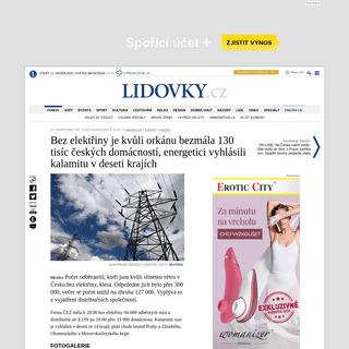 Bez elektřiny je kvůli orkánu bezmála 130 tisíc českých domácností, energetici vyhlásili kalamitu v deseti krajích -