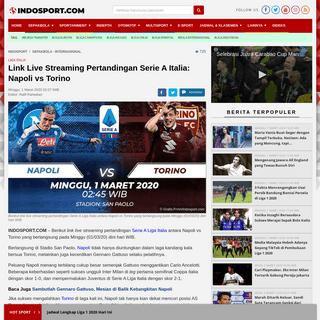 Link Live Streaming Pertandingan Serie A Italia- Napoli vs Torino - INDOSPORT