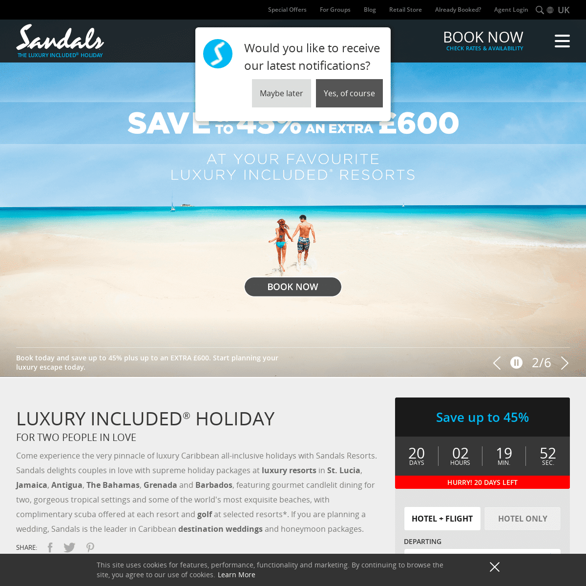 Caribbean Beach Resorts & Holiday Packages - Sandals