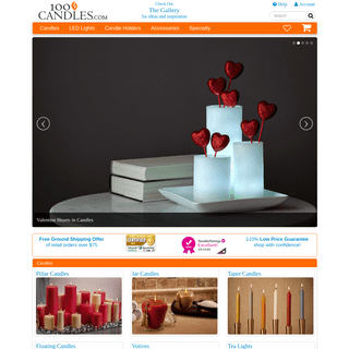 100 Candles - Candles in all Styles, Sizes, Colors, and Scents