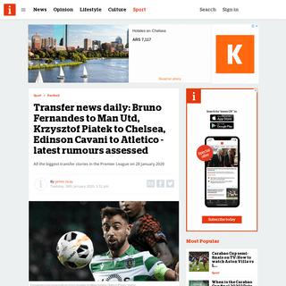 Transfer news daily- Bruno Fernandes to Man Utd, Krzysztof Piatek to Chelsea, Edinson Cavani to Atletico - latest rumours assess