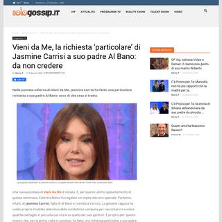 ArchiveBay.com - www.sologossip.it/2020/02/21/jasmine-carrisi-vieni-da-me-richiesta-particolare-padre/ - Vieni da Me, richiesta 'particolare' di Jasmine Carrisi a suo padre Al Bano