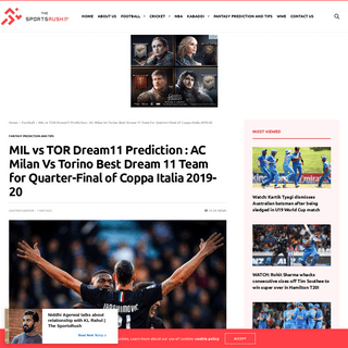 MIL vs TOR Dream11 Prediction - AC Milan Vs Torino Best Dream 11 Team for Quarter-Final of Coppa Italia 2019-20 - The SportsRush