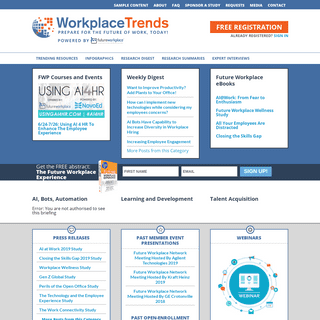 Workplace Trends – A Future Workplace Research and Advisory Service For HR, Human Resources, Talent Professionals