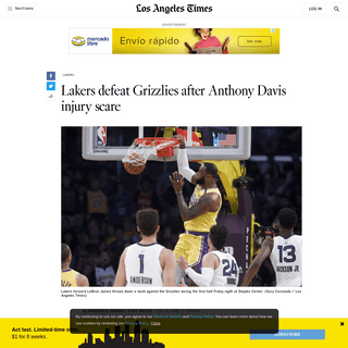Lakers defeat Grizzlies after Anthony Davis injury scare - Los Angeles Times