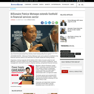 Billionaire Patrice Motsepe extends foothold in financial services sector - IOL Business Report