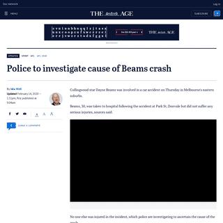 ArchiveBay.com - www.theage.com.au/sport/afl/collingwood-star-beams-in-car-accident-20200214-p540r5.html - Dayne Beams, Collingwood star, injured in car accident