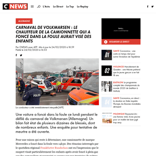 Carnaval de Volkmarsen - le chauffeur de la camionnette qui a foncé dans la foule aurait visé des enfants - www.cnews.fr