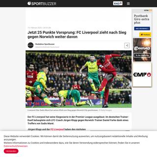 Jetzt 25 Punkte Vorsprung- FC Liverpool zieht nach Sieg gegen Norwich weiter davon - Sportbuzzer.de