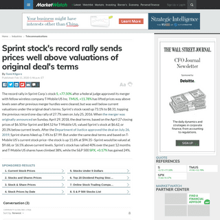 Sprint stock's record rally sends prices well above valuations of original deal's terms - MarketWatch