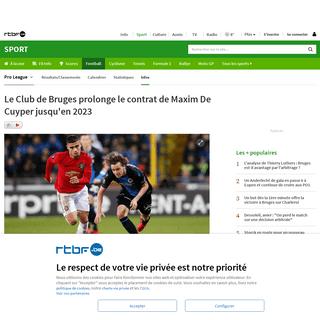Le Club de Bruges prolonge le contrat de Maxim De Cuyper jusqu'en 2023