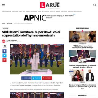 VIDÉO Demi Lovato au Super Bowl - voici sa prestation de l'hymne américain - Stéphane Larue