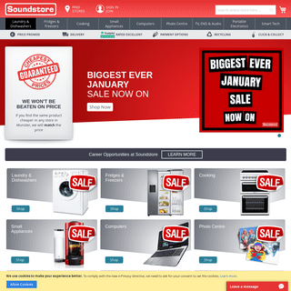 Soundstore - Buy TV's, Laptops, iPads, Washing Machines, Dryers, Cookers, Fridges, Dishwashers