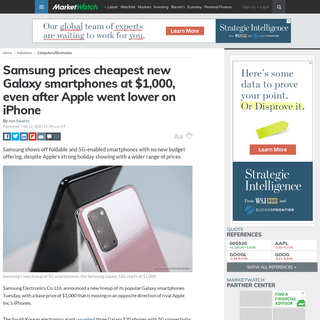 ArchiveBay.com - www.marketwatch.com/story/samsung-makes-1000-the-cheapest-price-for-galaxy-smartphones-after-apple-went-lower-on-iphone-2020-02-11 - Samsung prices cheapest new Galaxy smartphones at $1,000, even after Apple went lower on iPhone - MarketWatch