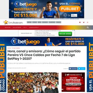 VER O ESCUCHAR EN VIVO - Partido Pereira VS Once Caldas por Fecha 7 de Liga BetPlay 1-2020 hoy sábado 29 de febrero (Win Spots