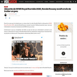 ArchiveBay.com - www.voxcatch.fr/2020/01/27/ronda-rousey-royal-rumble-2020-troll/ - Absente de WWE Royal Rumble 2020, Ronda Rousey avait envie de troller un peu – VoxCatch