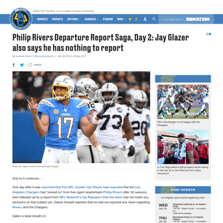 Philip Rivers rumors- More news that there's no news from Jay Glazer - Bolts From The Blue