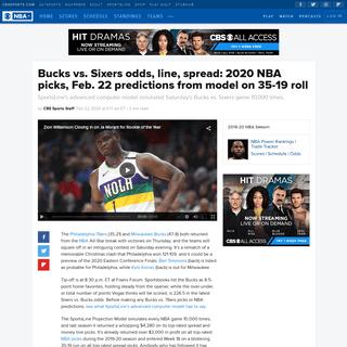 Bucks vs. Sixers odds, line, spread- 2020 NBA picks, Feb. 22 predictions from model on 35-19 roll - CBSSports.com