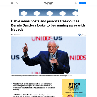 Cable news hosts and pundits freak out as Bernie Sanders leads Nevada - Business Insider