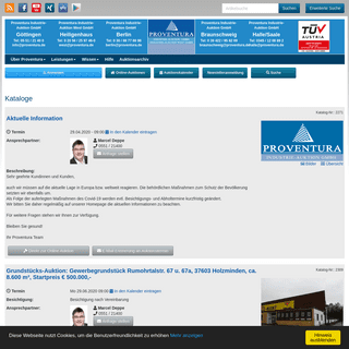 Industrie-Versteigerungen, gebrauchte Maschinen - Proventura Online-Auktion