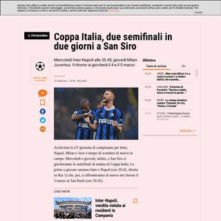 Coppa Italia, il programma delle semifinali. Dove vederle in tv - La Gazzetta dello Sport - Tutto il rosa della vita