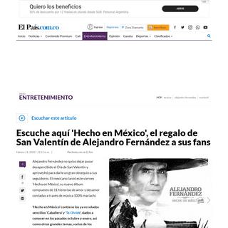 Alejandro Fernández estrena su nuevo álbum, 'Hecho en México'