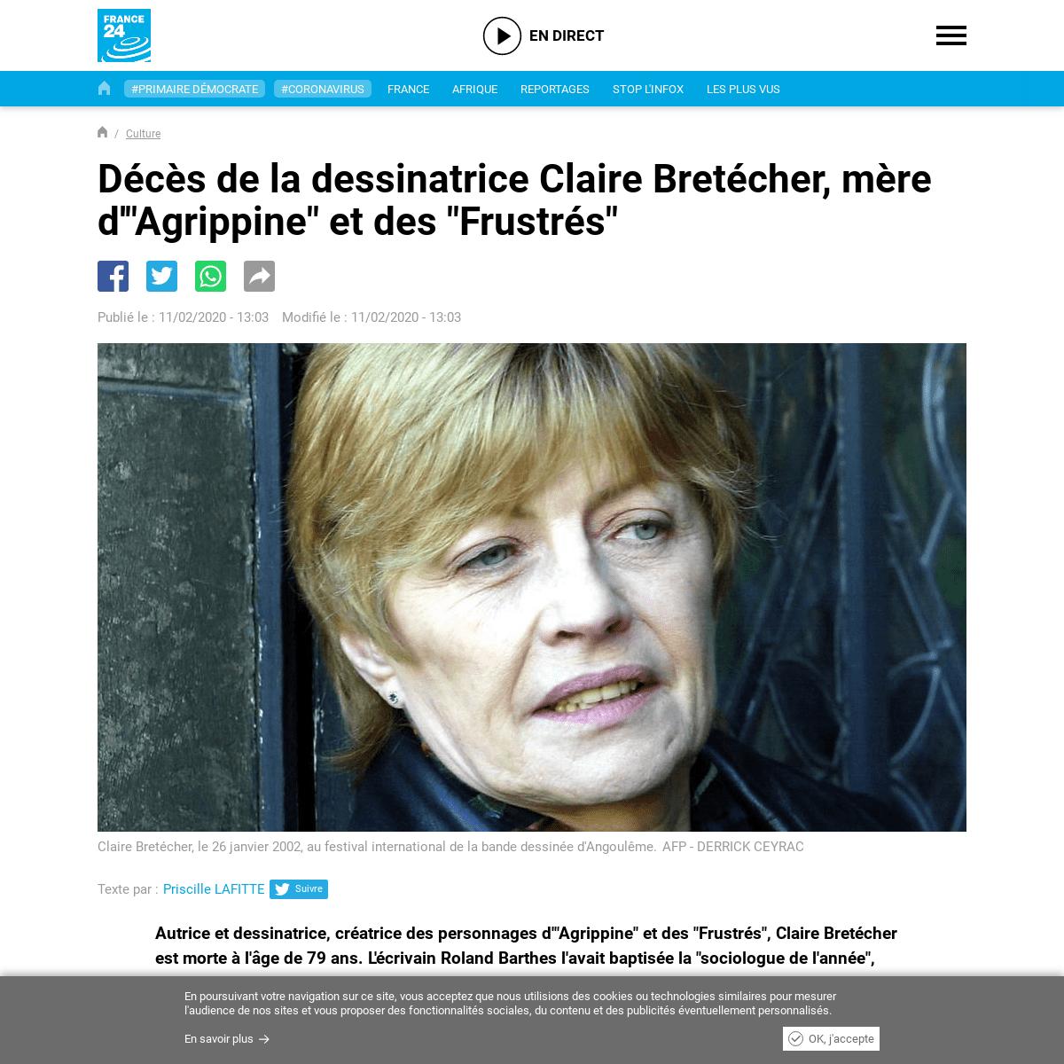 ArchiveBay.com - www.france24.com/fr/20200211-bd-claire-bretecher-deces-bande-dessinee-agrippine - Décès de la dessinatrice Claire Bretécher, mère d'-Agrippine- et des -Frustrés-