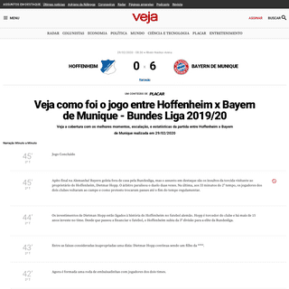 Veja como foi o jogo entre Hoffenheim x Bayern de Munique – Bundes Liga 2019-20