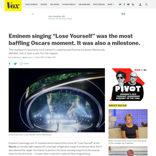 """Oscars 2020- Eminem's """"Lose Yourself"""" performance confused everyone - Vox"""