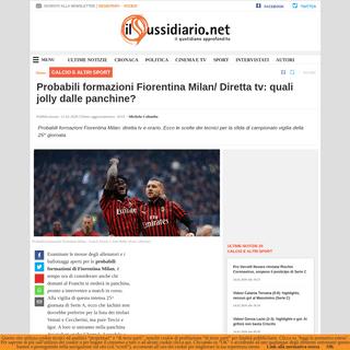 Probabili formazioni Fiorentina Milan- Diretta tv- quali jolly dalle panchine-