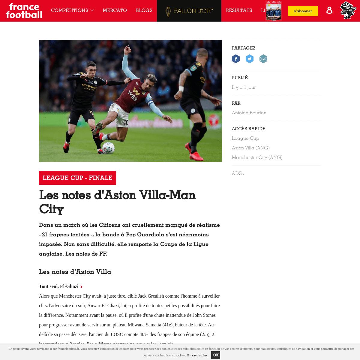 League Cup - Finale - Les notes d'Aston Villa-Man City - France Football
