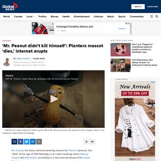 'Mr. Peanut didn't kill himself'- Planters mascot 'dies,' internet erupts - National - Globalnews.ca