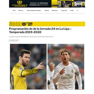 Programación de de la Jornada 24 en La Liga – Temporada 2019-2020